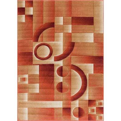 Atherton Modern Geometric Squares Orange Area Rug Rug Size: 33 x 5