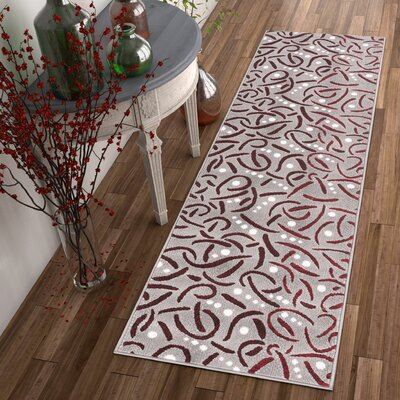 Hilary Red Area Rug Rug Size: 93 x 126