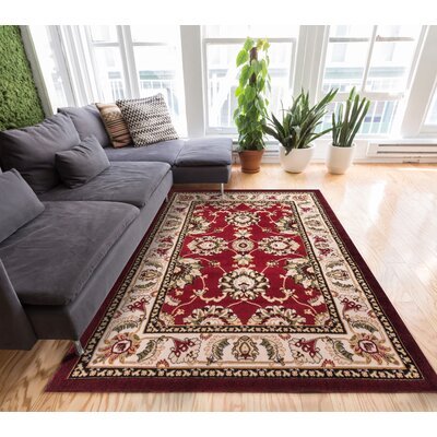 Comfy Living Red/Ivory Area Rug Rug Size: 5 x 72