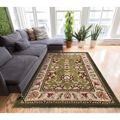 Comfy Living Green / Ivory Area Rug Rug Size: 710 x 910