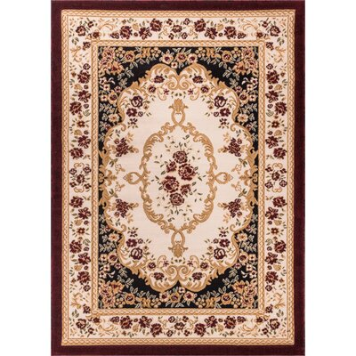 Burley Oak Versaille Traditional Medallion Black Area Rug Rug Size: 33 x 53