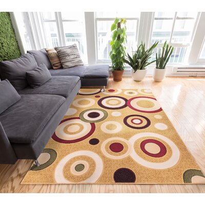 Dulcet Beige Rings Dots Area Rug Rug Size: 27 x 311