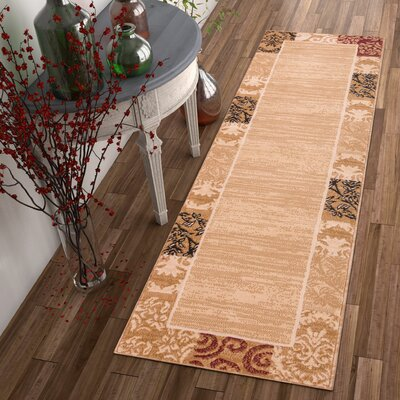 Chelsey Dulcet �Ivory Damask Area Rug Rug Size: 93 x 126