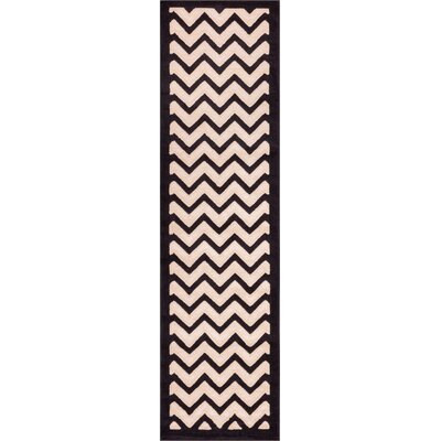 Terrie Dulcet Cream/Black Chevron Area Rug Rug Size: Runner 2 x 73