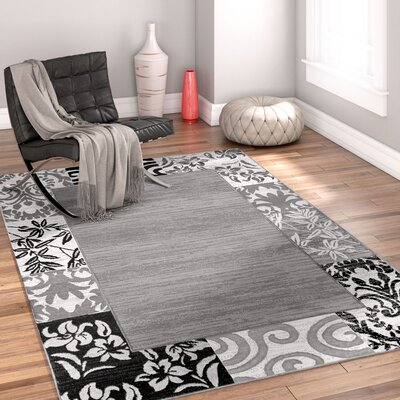 Burley Oak Damask Gray Area Rug Rug Size: 5 x 72