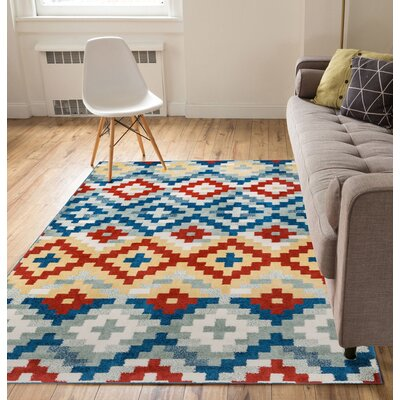 Carlo Red/Blue Area Rug Rug Size: 33 x 5