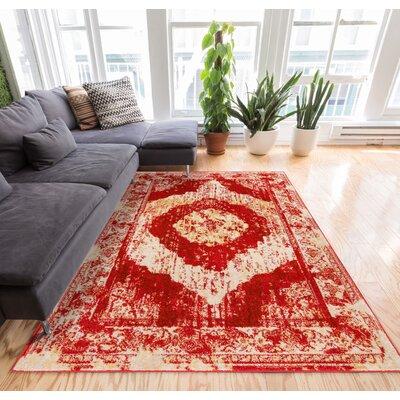 Sydney Red/Beige Area Rug Rug Size: 33 x 47