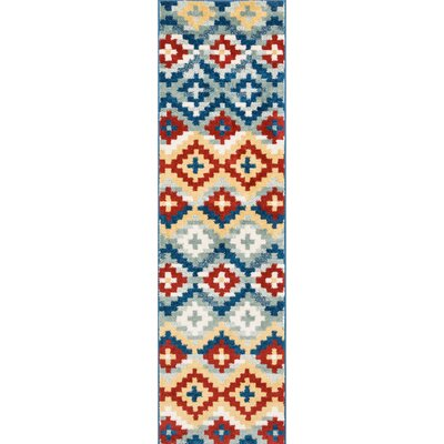 Carlo Red/Blue Area Rug Rug Size: Runner 2 x 73