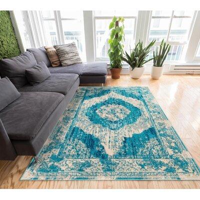 Sydney Teal Blue/Beige Area Rug Rug Size: 23 x 311