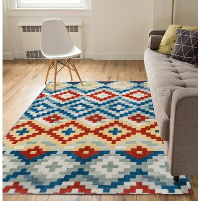 Carlo Red/Blue Area Rug Rug Size: 710 x 910