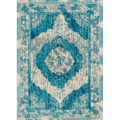 Sydney Teal Blue/Beige Area Rug Rug Size: 33 x 47