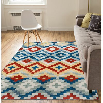 Carlo Red/Blue Area Rug Rug Size: 5 x 7