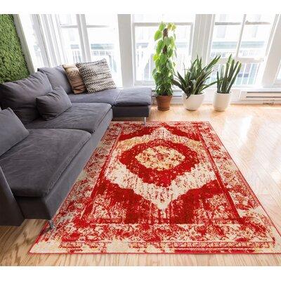 Sydney Red/Beige Area Rug Rug Size: 53 x 73