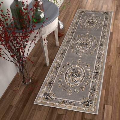 Timeless Le Petit Palais Gray Area Rug Rug Size: Runner 23 x 73