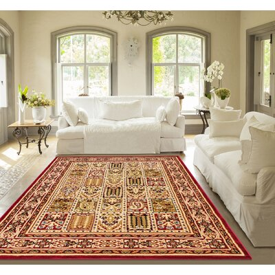 Timeless Cordelia Garden Red/Beige Area Rug Rug Size: 92 x 126