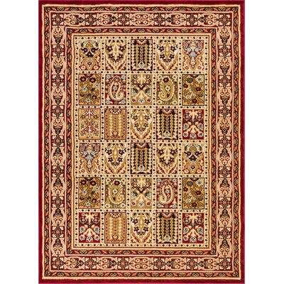 Timeless Cordelia Garden Red/Beige Area Rug Rug Size: 53 x 73