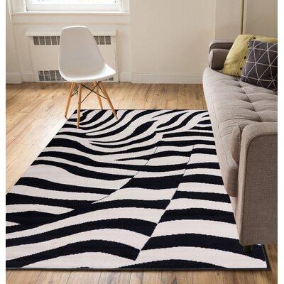 Annahda Zebra Black/Tan Area Rug Rug Size: 5 x 7