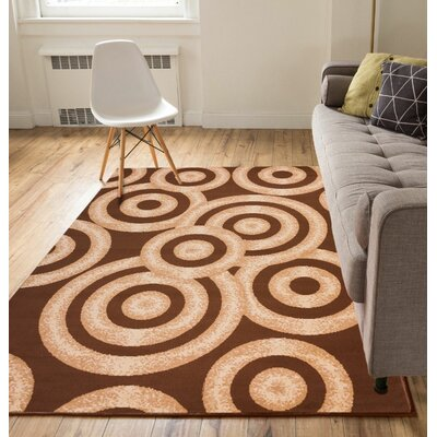 Heeter Circles Brown Area Rug Rug Size: 82 x 910