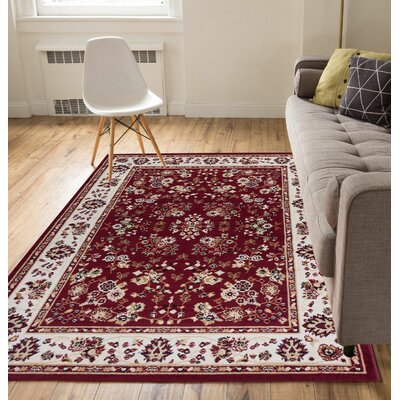 Coggrey Classic Red Area Rug Rug Size: 33 x 5