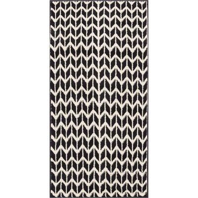 Chittenden Chevron Black & Beige Area Rug Rug Size: 23 x 311
