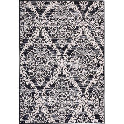 Coggrey Damask Trellis Power Loom Black Indoor Area Rug Rug Size: 33 x 5
