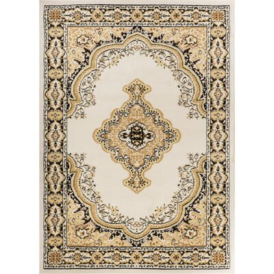 Aldenport Medallion Power Loom Ivory Indoor Area Rug Rug Size: 53 x 73