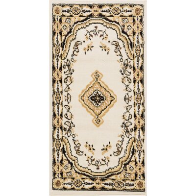 Aldenport Medallion Power Loom Ivory Indoor Area Rug Rug Size: 23 x 311