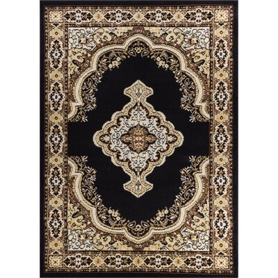 Aldenport Medallion Power Loom Black Indoor Area Rug Rug Size: 93 x 126