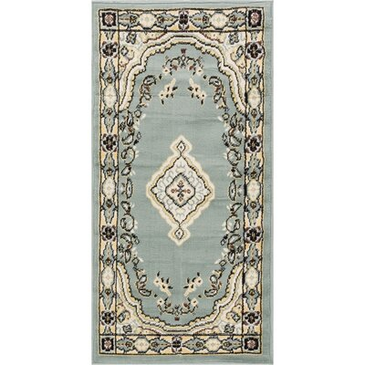 Aldenport Medallion Power Loom Blue Indoor Rug Rug Size: 23 x 311