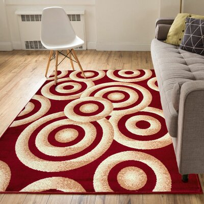 Heeter Circles Red/Gold Area Rug Rug Size: 33 x 5