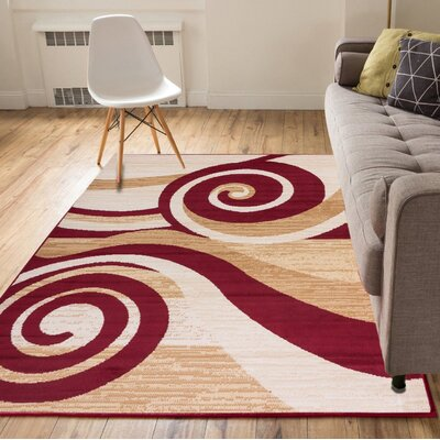 Ayala Waves and Scrolls Power Loom Brown/Red Indoor Area Rug Rug Size: 93 x 126