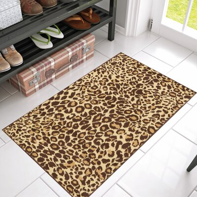 Annahda Animal Print Leopard Patterned Power Loom Brown Indoor Area Rug