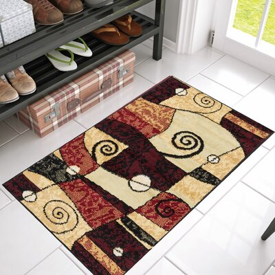 Mattie Abstract Geo Mid-Century Power Loom Indoor Area Rug
