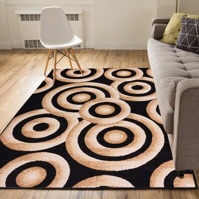 Heeter Circles Black/Gold Area Rug Rug Size: 33 x 5
