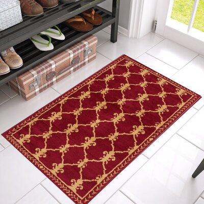 Bartz Trellis Power Loom Red Indoor Area Rug Rug Size: 311 x 53