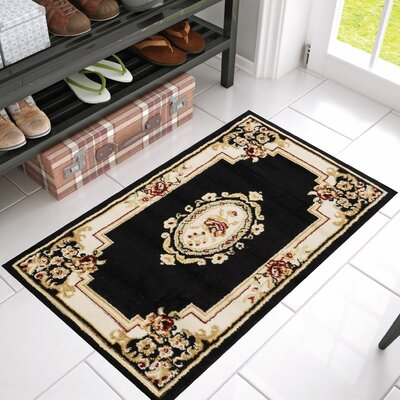 Coggrey Medallion Centre Black Area Rug Rug Size: 23 x 311