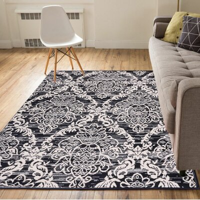 Cherwell Damask Trellis Power Loom Black Indoor Area Rug Rug Size: 23 x 311