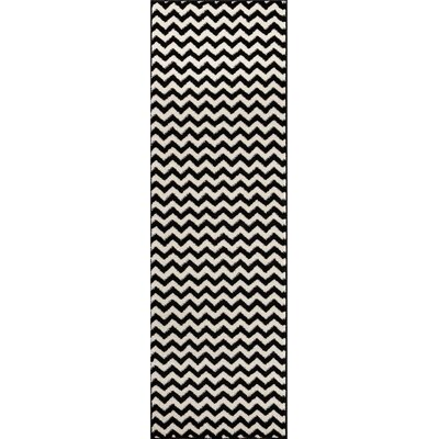 Burgess Chevron Black/White Area Rug Rug Size: Runner 27 x 910
