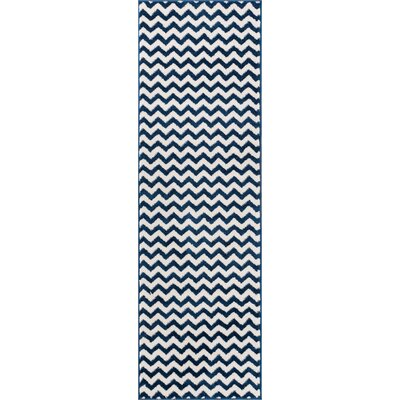 Burgess Chevron Dark Blue/White Area Rug Rug Size: Runner 27 x 910