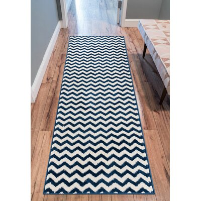Burgess Chevron Dark Blue/White Area Rug Rug Size: Oval 27 x 42
