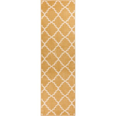Lewis Lattice Gold Area Rug Rug Size: Runner 27 x 910
