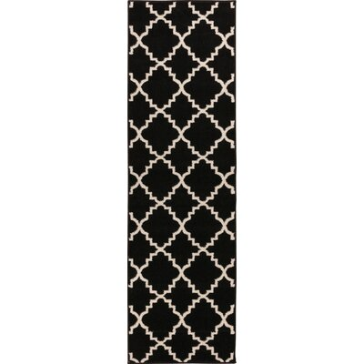 Lewis Lattice Black Area Rug Rug Size: Runner 23 x 73