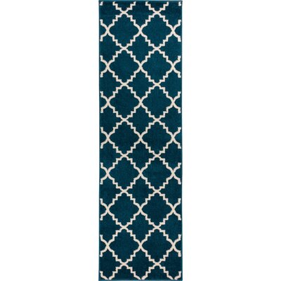 Lewis Lattice Blue Area Rug Rug Size: Runner 27 x 910