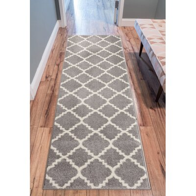 Dax Lattice Gray & White Area Rug Rug Size: Runner 27 x 910