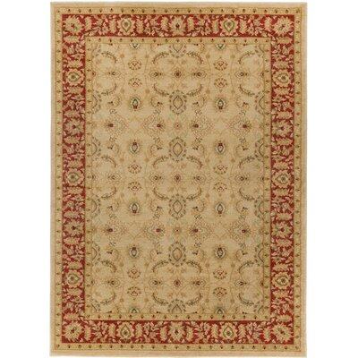 Allerdale Traditional Oriental Beige/Red Area Rug Rug Size: 53 x 73