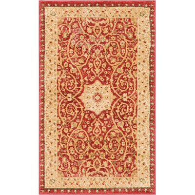 Allerdale Traditional Floral Oriental Red/Beige Area Rug Rug Size: 23 x 311