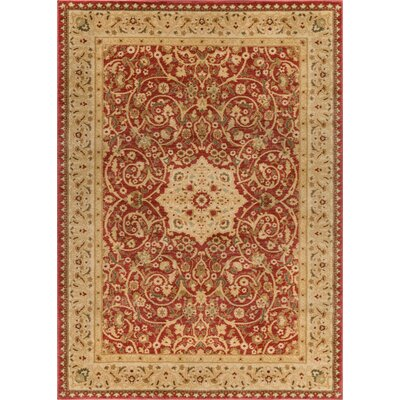Allerdale Traditional Floral Oriental Red/Beige Area Rug Rug Size: 53 x 73