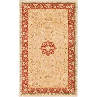 Allerdale Traditional Floral Oriental Beige/Red Area Rug Rug Size: 23 x 311