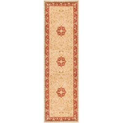 Allerdale Traditional Floral Oriental Beige/Red Area Rug Rug Size: 23 x 73 Runner