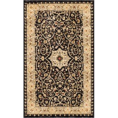 Allerdale Traditional Oriental Black/Beige Area Rug Rug Size: 23 x 311